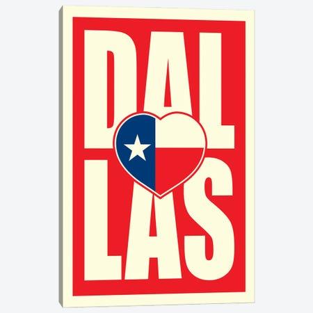 Dallas Typography Flag Heart Canvas Print #BPP234} by Benton Park Prints Canvas Art Print