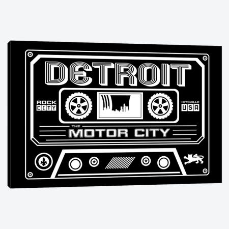 Detroit Cassette - Dark Background Canvas Print #BPP236} by Benton Park Prints Art Print
