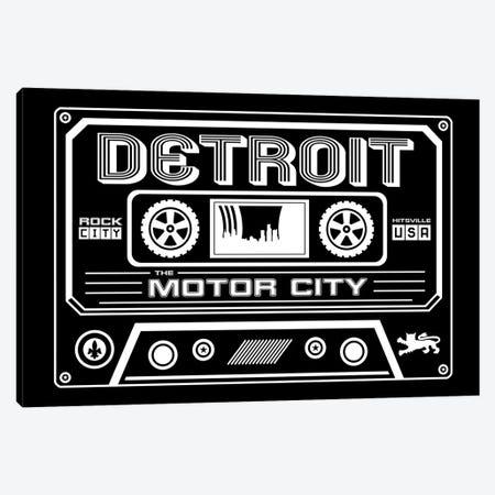 Detroit Cassette - Dark Background Canvas Print #BPP236} by Benton Park Prints Art Print