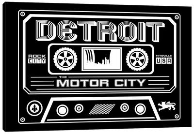 Detroit Cassette - Dark Background Canvas Art Print