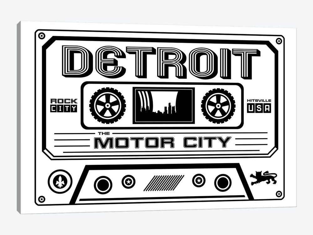 Detroit Cassette - Light Background by Benton Park Prints 1-piece Canvas Wall Art