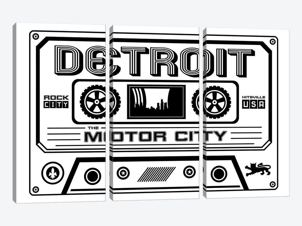 Detroit Cassette - Light Background by Benton Park Prints 3-piece Canvas Artwork
