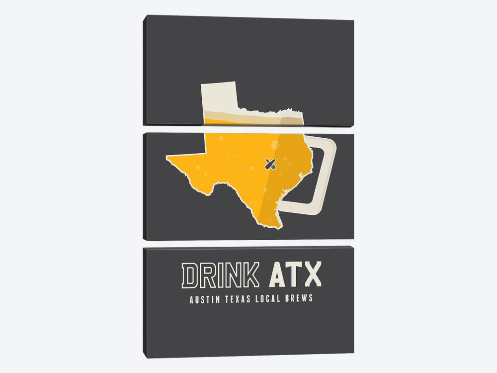 Drink ATX - Austin Beer Print by Benton Park Prints 3-piece Canvas Artwork