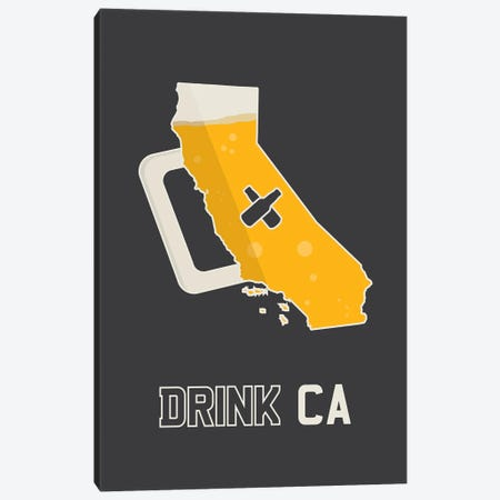 Drink CA - California Beer Print Canvas Print #BPP240} by Benton Park Prints Canvas Print