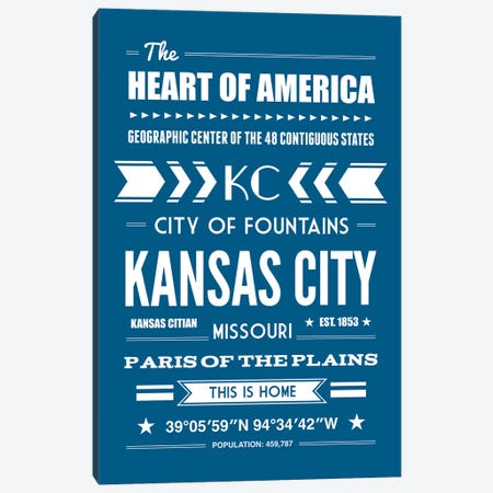 Kansas City - Typography Print Canvas Print #BPP256} by Benton Park Prints Canvas Art Print