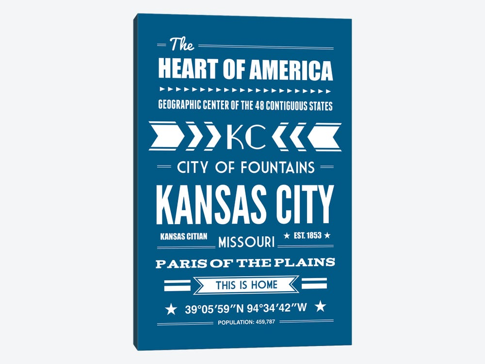Kansas City - Typography Print by Benton Park Prints 1-piece Art Print
