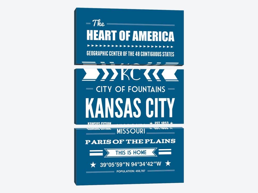 Kansas City - Typography Print by Benton Park Prints 3-piece Canvas Print