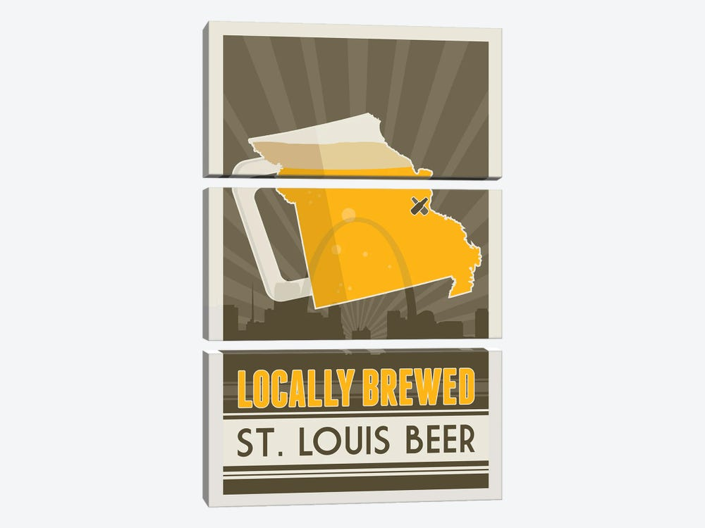 Locally Brewed Beer - St. Louis by Benton Park Prints 3-piece Canvas Wall Art