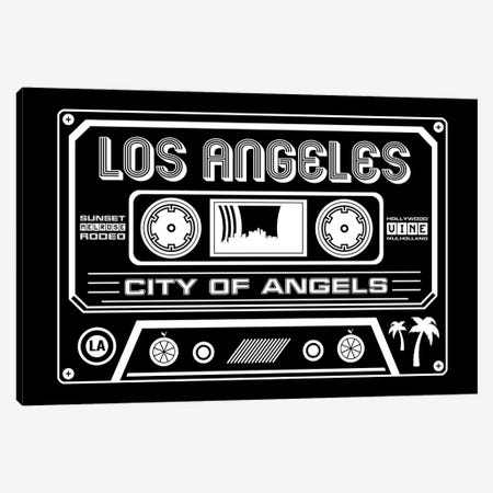 Los Angeles Cassette - Dark Background Canvas Print #BPP259} by Benton Park Prints Canvas Wall Art
