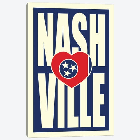Nashville Typography Heart Canvas Print #BPP265} by Benton Park Prints Canvas Artwork