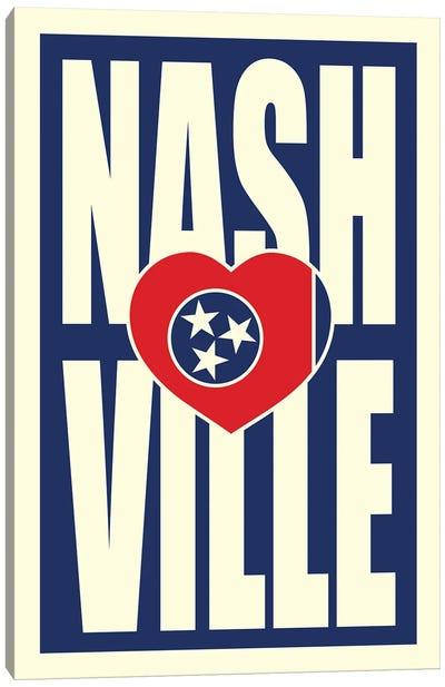 Nashville Typography Heart Canvas Art Print