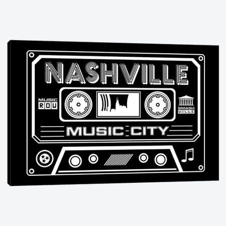 Nashville Cassette - Dark Background Canvas Print #BPP267} by Benton Park Prints Canvas Art