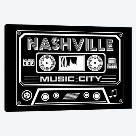 Nashville Cassette - Dark Background Canvas Print #BPP267} by Benton Park Prints Canvas Art