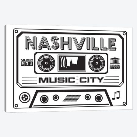 Nashville Cassette - Light Background Canvas Print #BPP268} by Benton Park Prints Canvas Print