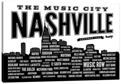Nashville Neighborhoods Canvas Art Print