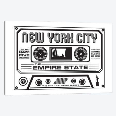 New York City Cassette - Light Background Canvas Print #BPP272} by Benton Park Prints Canvas Wall Art