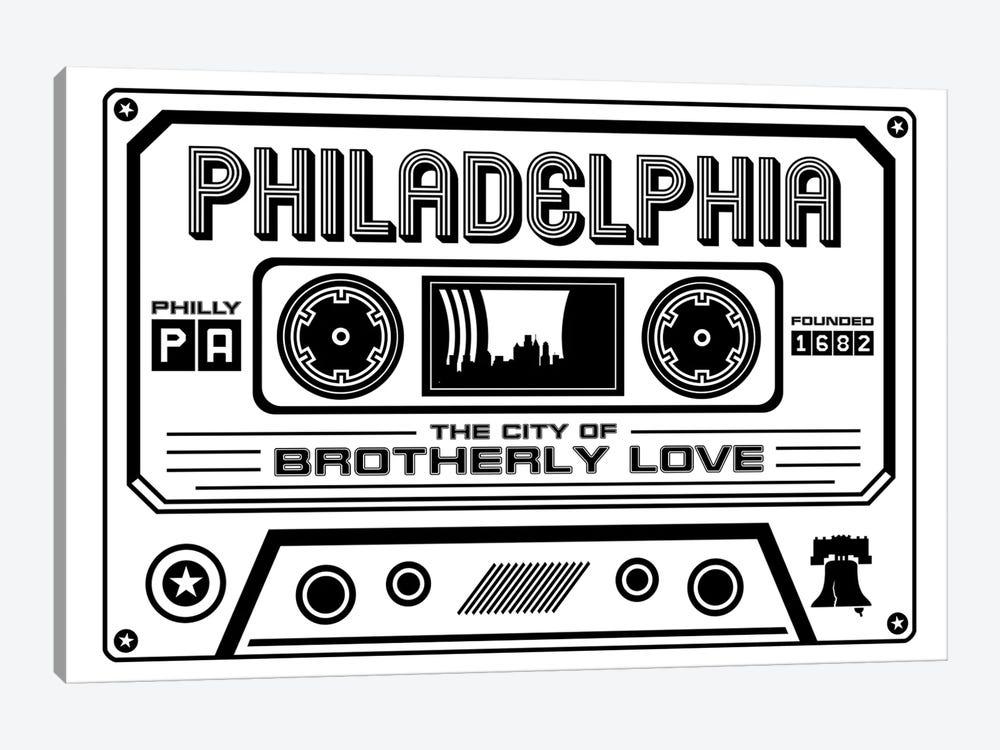 Philadelphia Cassette - Light Background by Benton Park Prints 1-piece Canvas Wall Art