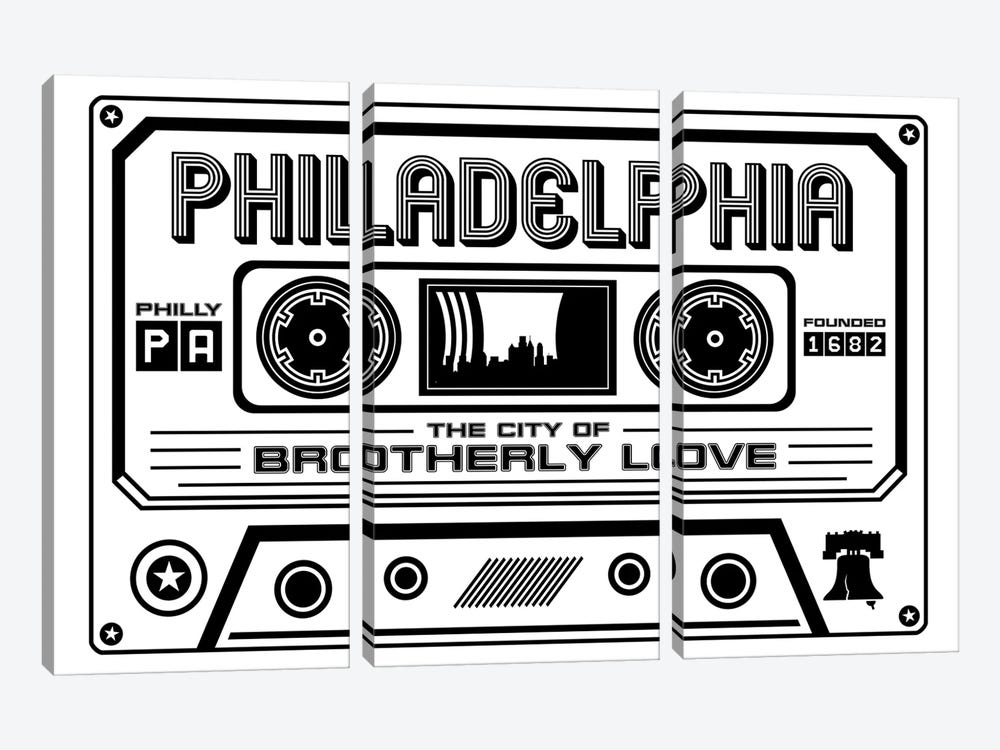 Philadelphia Cassette - Light Background by Benton Park Prints 3-piece Canvas Artwork