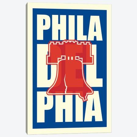 Philadelphia Typography LIberty Bell Canvas Print #BPP278} by Benton Park Prints Canvas Wall Art