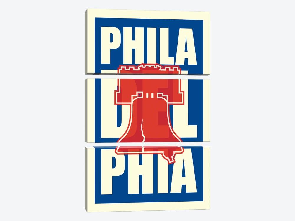 Philadelphia Typography LIberty Bell by Benton Park Prints 3-piece Canvas Art Print
