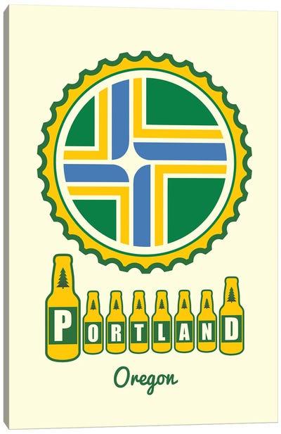 Portland Beer Cap Flag Canvas Art Print
