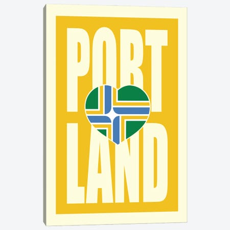 Portland Typography Flag Canvas Print #BPP282} by Benton Park Prints Canvas Art Print