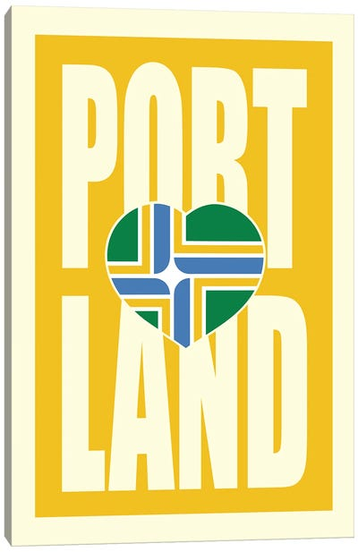 Portland Typography Flag Canvas Art Print