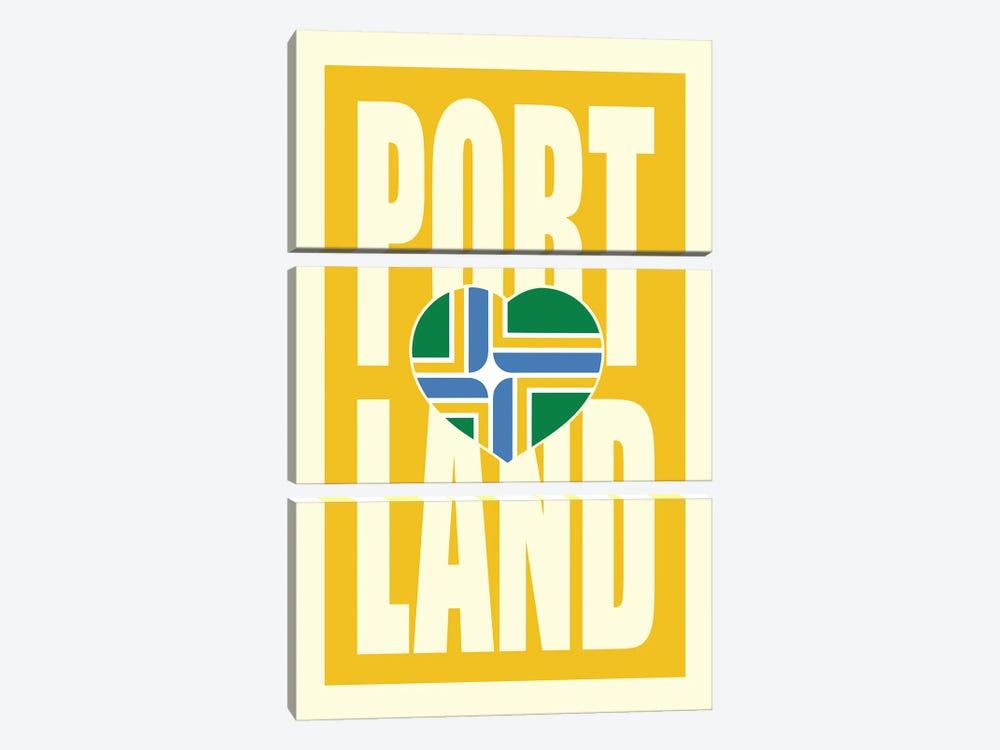Portland Typography Flag by Benton Park Prints 3-piece Canvas Artwork