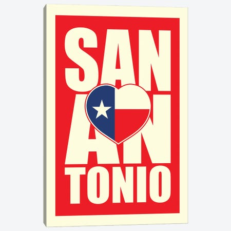 San Antonio Typography Heart Canvas Print #BPP285} by Benton Park Prints Canvas Art