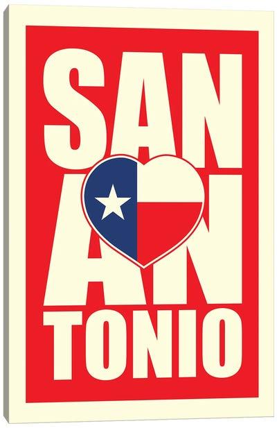 San Antonio Typography Heart Canvas Art Print
