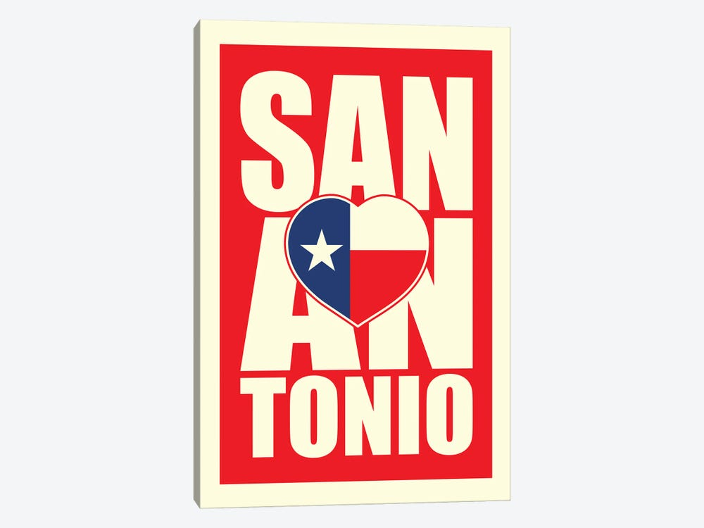 San Antonio Typography Heart by Benton Park Prints 1-piece Canvas Art Print