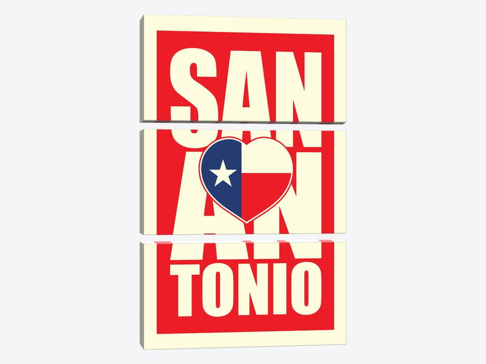 San Antonio Typography Heart by Benton Park Prints 3-piece Canvas Art Print