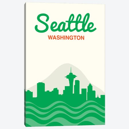 Seattle Skyline Canvas Print #BPP286} by Benton Park Prints Canvas Wall Art