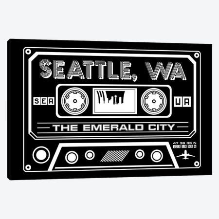 Seattle Cassette - Dark Background Canvas Print #BPP287} by Benton Park Prints Canvas Artwork