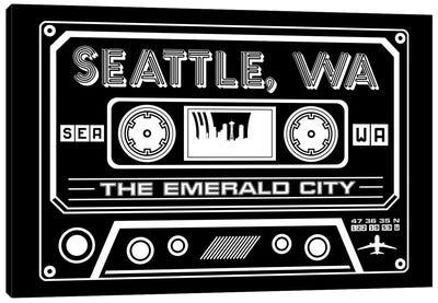 Seattle Cassette - Dark Background Canvas Art Print