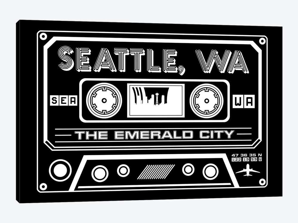 Seattle Cassette - Dark Background by Benton Park Prints 1-piece Canvas Art Print
