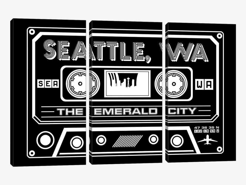 Seattle Cassette - Dark Background by Benton Park Prints 3-piece Art Print