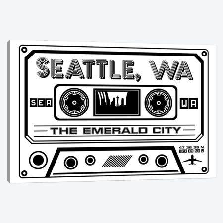 Seattle Cassette - Light Background Canvas Print #BPP288} by Benton Park Prints Canvas Art Print