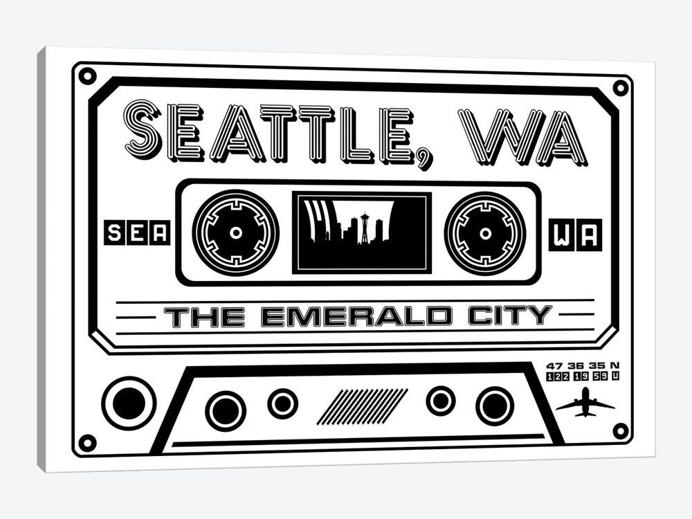 Seattle Cassette - Light Background by Benton Park Prints 1-piece Canvas Art