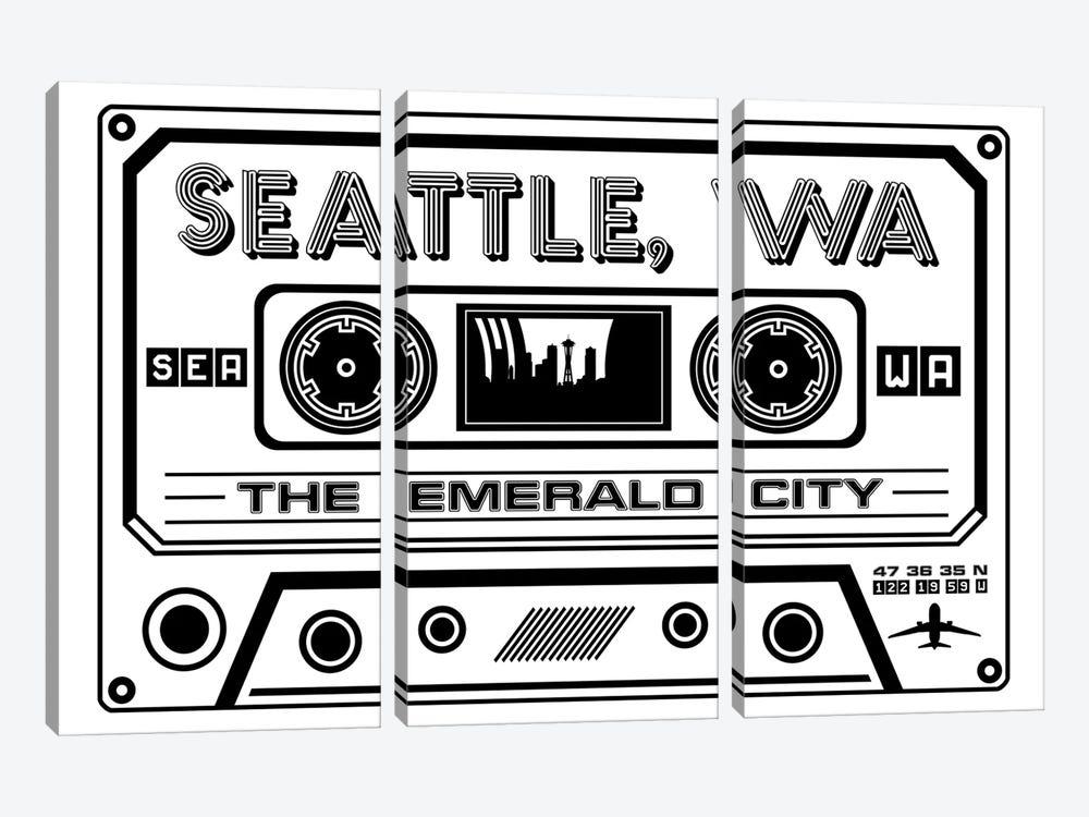 Seattle Cassette - Light Background by Benton Park Prints 3-piece Canvas Wall Art