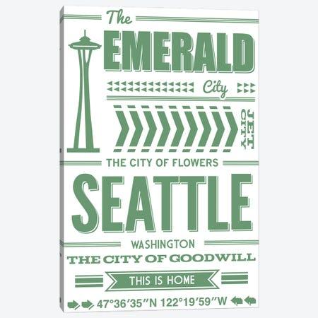 Seattle Typography Canvas Print #BPP290} by Benton Park Prints Canvas Wall Art