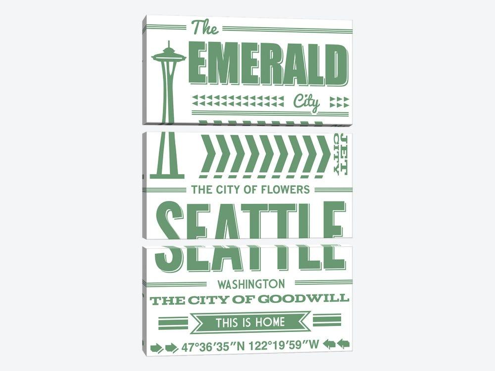 Seattle Typography by Benton Park Prints 3-piece Canvas Art Print