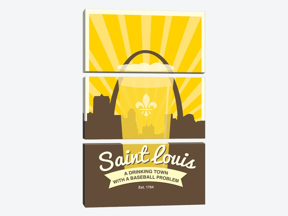 St. Louis - Drinking Town With A Baseball Problem by Benton Park Prints 3-piece Canvas Wall Art