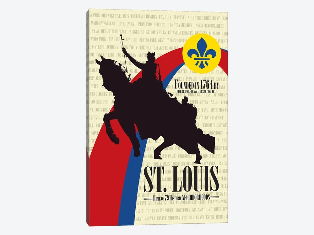 St. Louis - Founded in 1764 by Benton Park Prints 1-piece Canvas Artwork