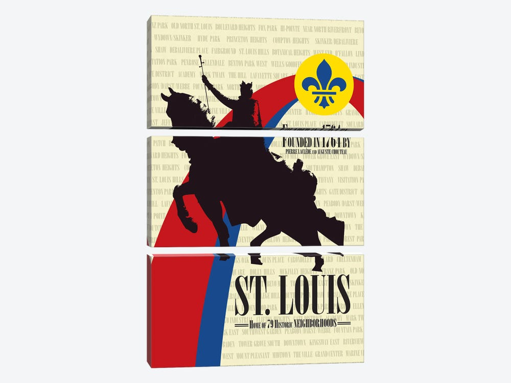 St. Louis - Founded in 1764 by Benton Park Prints 3-piece Canvas Wall Art