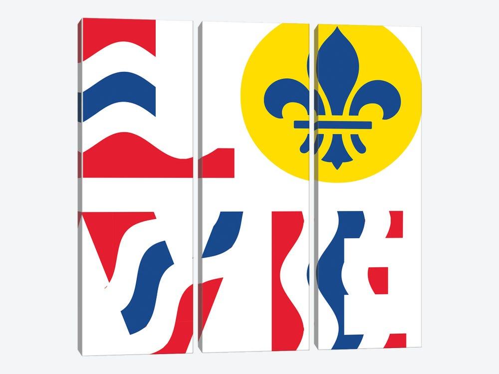 LOVE - St. Louis Flag by Benton Park Prints 3-piece Canvas Artwork