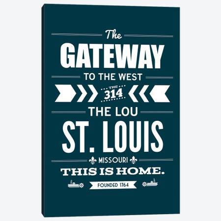 St. Louis - Typography Navy Canvas Print #BPP308} by Benton Park Prints Canvas Artwork