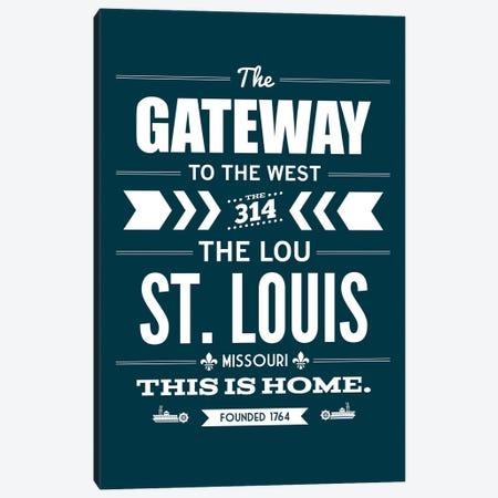 St. Louis - Typography Navy Canvas Print #BPP308} by Benton Park Prints Canvas Artwork
