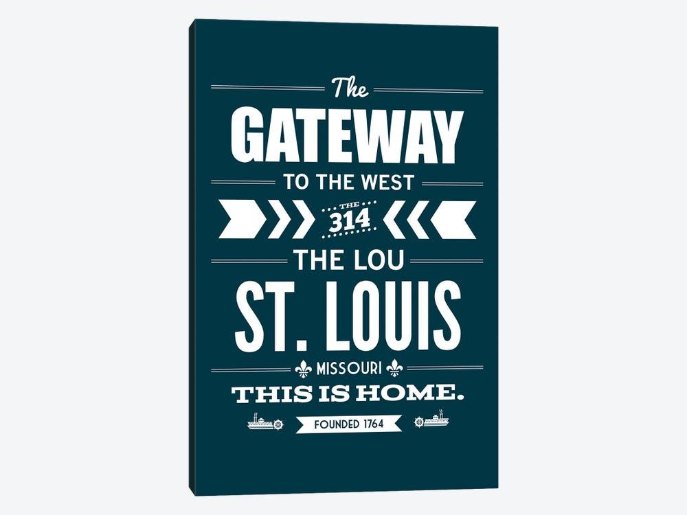 St. Louis - Typography Navy by Benton Park Prints 1-piece Canvas Print
