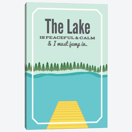 The Lake is Peaceful & Calm Canvas Print #BPP315} by Benton Park Prints Canvas Artwork